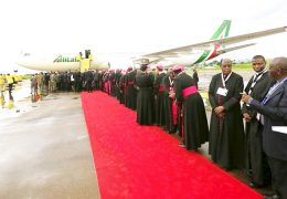 Bishops-line-up-to-welcome-Pope-Francis-at-Entebbe-International-Airport-on-27-Nov-2015
