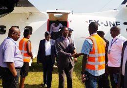 Board-members-arriving-at-Arua-Airfield