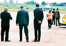 Officials-welcoming-Hilary-Clinton-at-Entebbe-International-Airport