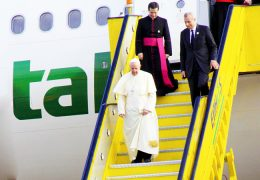 Pope-Francis-coming-out-of-the-plane-at-Entebbe-International-Airport